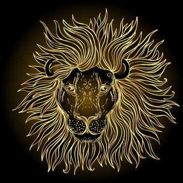 Patterned ornate lion head. African, Indian, totem, tattoo, sticker design. Design of t-shirt, bag, postcard and posters. Vector isolated illustration in gold colors. Zodiac sign Leo.