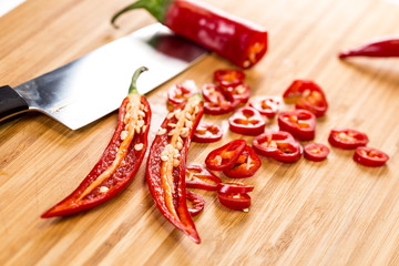 Canvas Prints Hot chili peppers red hot chili peppers on a wooden board