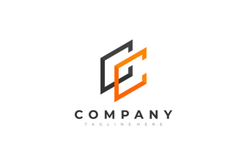 Geometric Line Letter CC Logo. Usable for Business, Architecture, Construction and Building Logos. Flat Vector Design Template Element.