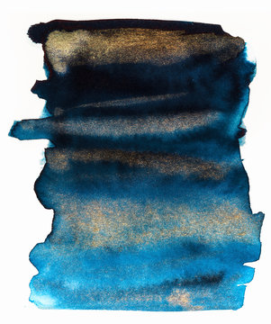 Watercolor inks texture blue and gold