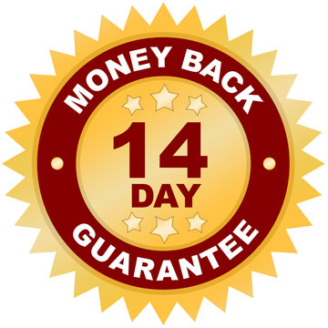 14 Day Money Back Guarantee product label or badge or sticker iimage solated on white background