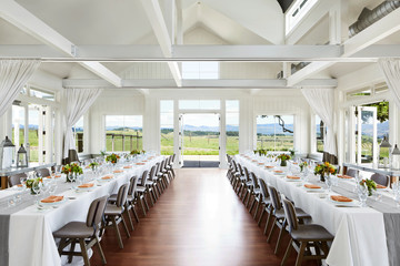 Wedding reception table setting at a luxury resort