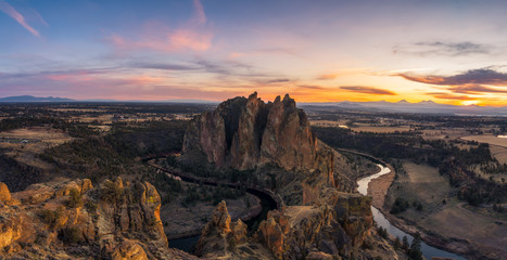 Printed kitchen splashbacks Cappuccino Sunset panorama at Smith Rock