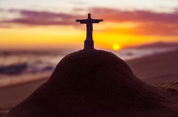Canvas Prints Rio de Janeiro Christ The Redeemer Statue On Mount In Rio De Janeiro At Sunset Famous Beach