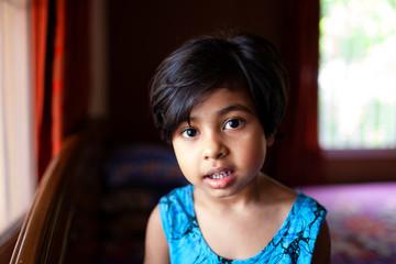 Close up portrait of cute little girl