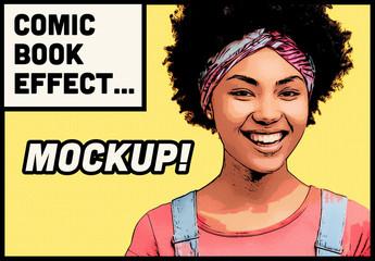 Photo Comic Effect Mockup