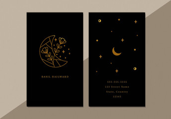 Business Card Layout with Line Art Moon and Star Illustrations