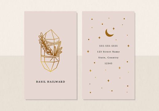 Business Card Layout with Line Art Crystal and Star Illustrations