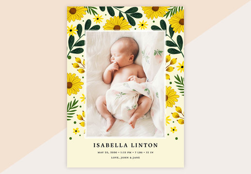 Baby Annoucement Layout with Yellow Floral Border Illustrations