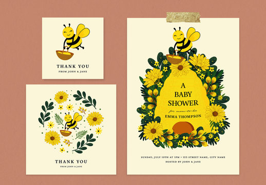 Baby Shower Layout Set with Beehive and Floral Illustrations