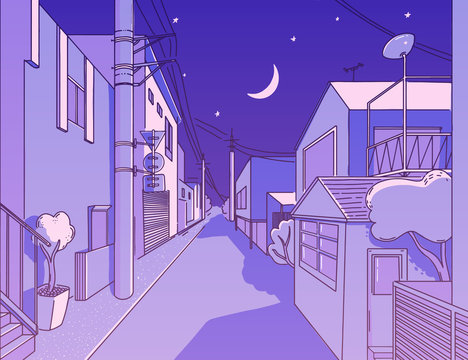 Night asian street in residental area. Peaceful and calm alleyway. Japanese aesthetics illustration, vector landscape for t shirt print. Otaku and hipster fashion design. Violet sky with stars, wires