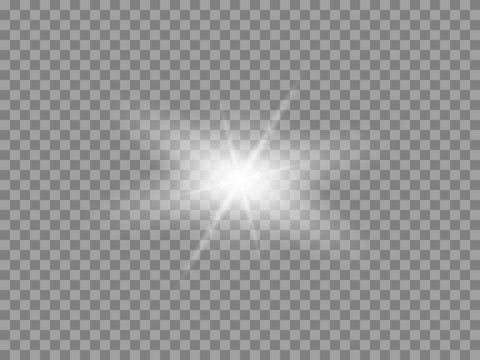 Vector glowing light effect. Shine, glare, flare, flash illustration. White png star on transparent