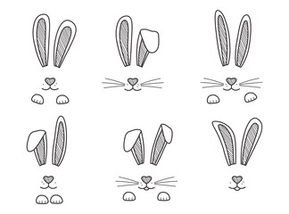 Easter bunnies hand drawn, face of rabbits. Black and white ears and muzzle with whiskers, paws. Elements for design greeting cards. Vector illustration Wall mural
