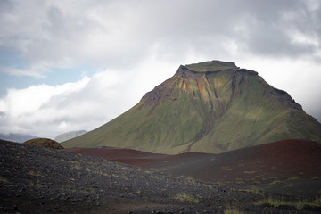 Fotorolgordijn Khaki Panoramic view on green Hattafell mountain with Volcanic landscape. Laugavegur trek in Iceland