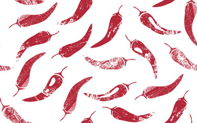Seamless Pattern with Red Hot Chilly Peppers. Mexican Food Theme. Vector illustration. Wall mural