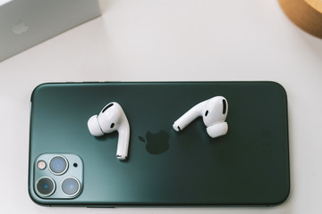 New Apple AirPods Pro in-ear headphones, Kaunas, Lithuania - february 14, 2020