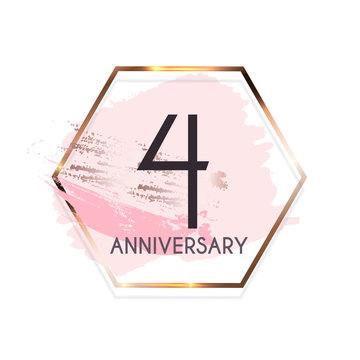 Celebrating 4 Anniversary emblem template design with gold numbers poster background. Vector Illustration