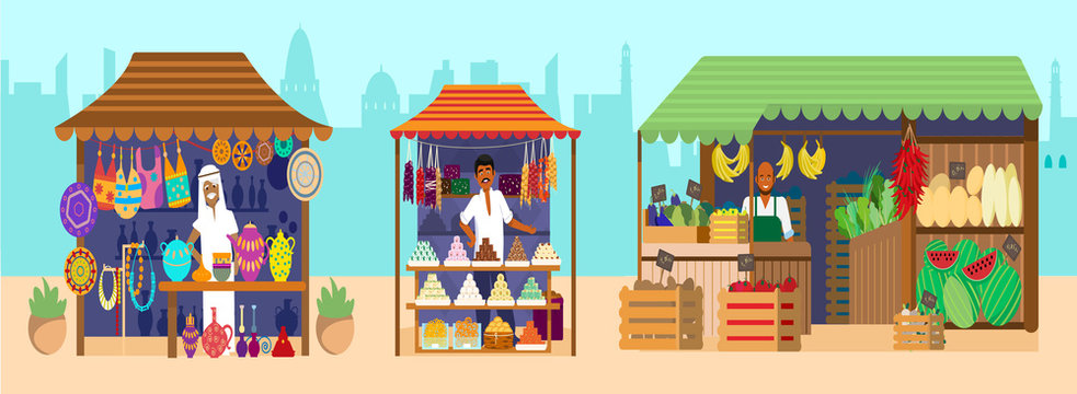 Asian bazaar with sellers. Souvenirs, pottery, sweets, jewelry, fruits and vegetables. Indian characters. Horizontal marketplace panorama. Flat vector illustration.