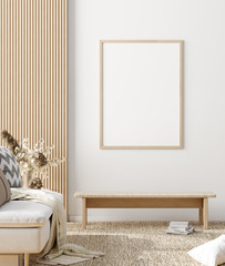Wall Mural - Mock up poster in warm Scandinavian style living room interior with wooden decor, 3d render