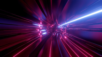 Sci-fi tunnel with neon lights. Abstract high-tech tunnel as background in the style of cyberpunk or high-tech future. Blue red colors 5