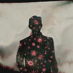 Illustration Man Silhouette Coronavirus - Virus Sepia and red