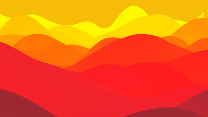 Foto auf Leinwand Rot abstract fantastic background, liquid gradient of paint with internal glow forms hills or peaks like landscape in subsurface scattering material, mat color transitions. Red yellow orange