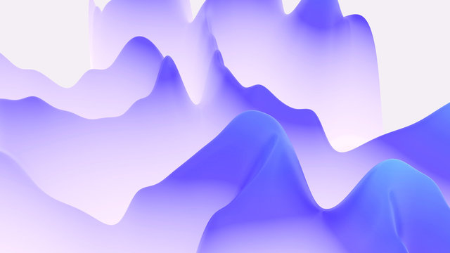 abstract fantastic background, liquid gradient of paint with internal glow forms hills or peaks like landscape in subsurface scattering material, mat color transitions. Blue color