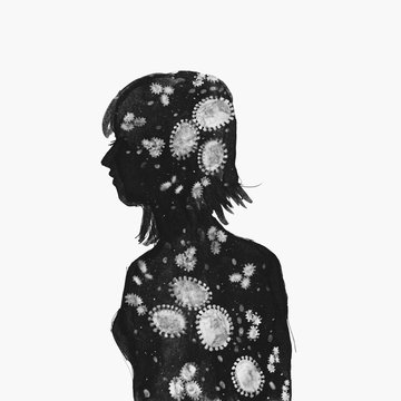 Illustration woman Silhouette Coronavirus black and white