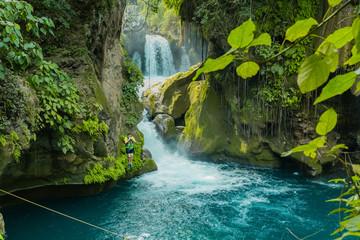 Panoramic beautiful deep waterfall in Bridge of God and Waterfalls of Tamasopo san luis potosi mexico