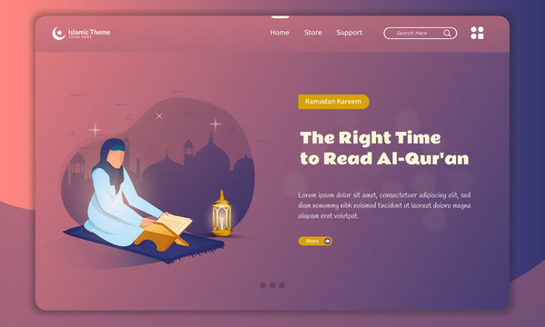 Flat illustration of reading the holy Quran for Ramadan kareem concept on landing page