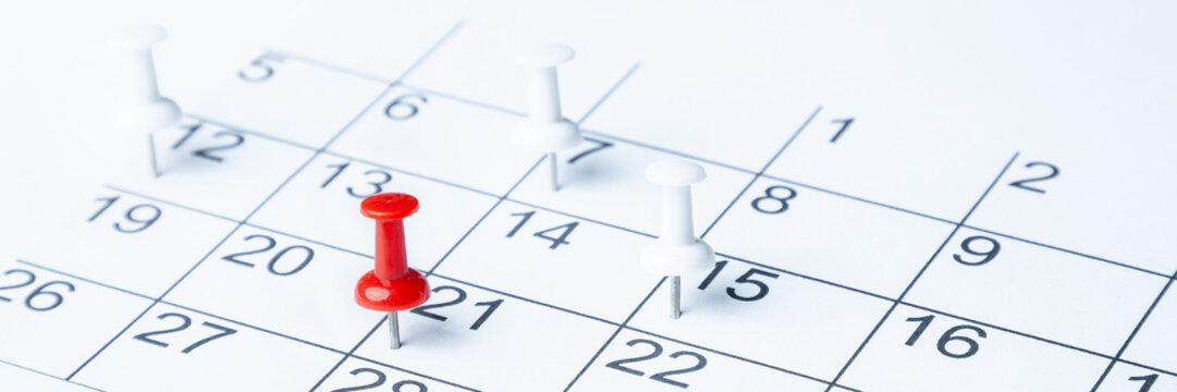 Tacks On Calendar Page/ 21st