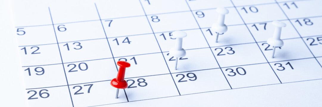 Tacks On Calendar Page/ 27th
