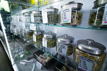 Selection of medical recreational cannabis at a legal retail store