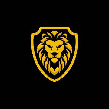 lion shield logo vector design
