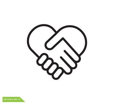 Hand shake and love icon vector logo design template