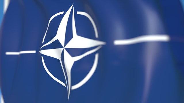 Waving flag with NATO logo, close-up. Editorial 3D rendering