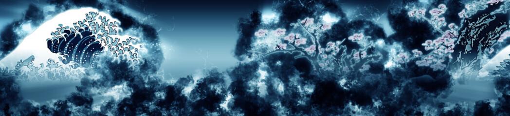 Photo sur Aluminium Bleu jean 神奈川沖浪裏&桜 煙ロングバージョン