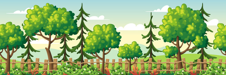 Wall Mural - Seamless summer landscape with trees, fence and flowers. Vector Illustrations with separate layers. Concept for banner, web background and templates.