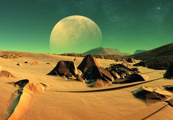 Obraz 3D Rendered Fantasy Alien Landscape - 3D Illustration - fototapety do salonu