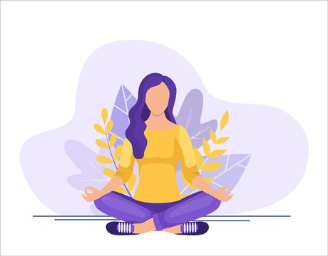 Young woman sitting in yoga lotus pose. concept of meditation, the health benefits for the body, mind and emotions. inception and the search for ideas. Vector illustration in flat style