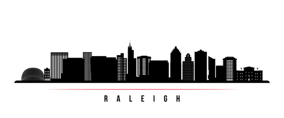 Raleigh  skyline horizontal banner. Black and white silhouette of Raleigh, North Carolina. Vector template for your design. Wall mural