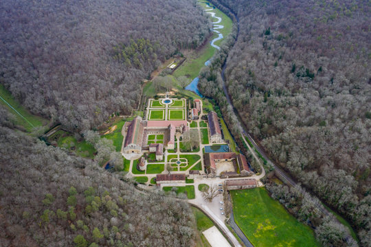 Aerial view of an ancient abbey in France, Abbaye de Fontenay (Fontenay Abbey)