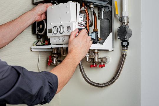 Repair of a gas boiler.