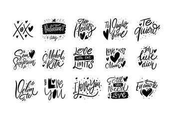 Poster Positive Typography Love and Valentine's day Lettering phrases set. Black ink. Hand drawn vector illustration. Modern Typography.