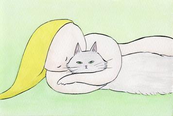 猫と寝る裸の女性
