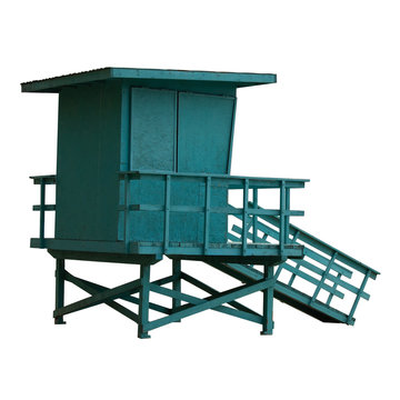 A lifeguard tower, isolated on white background