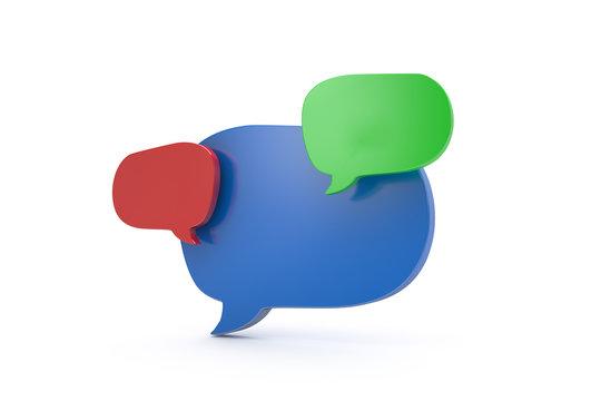 3D Rendering of Colorful Speech Bubbles Communication Concept