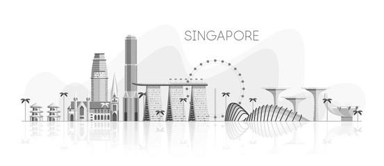 Fototapete - Skyline of Singapore White shades grey reflection