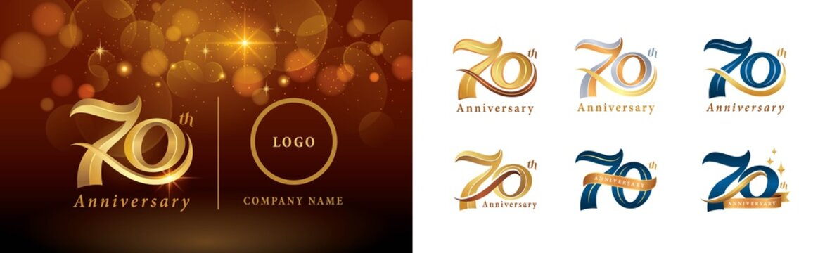 Set of 70th Anniversary logotype design, Seventy years Celebrating Anniversary Logo