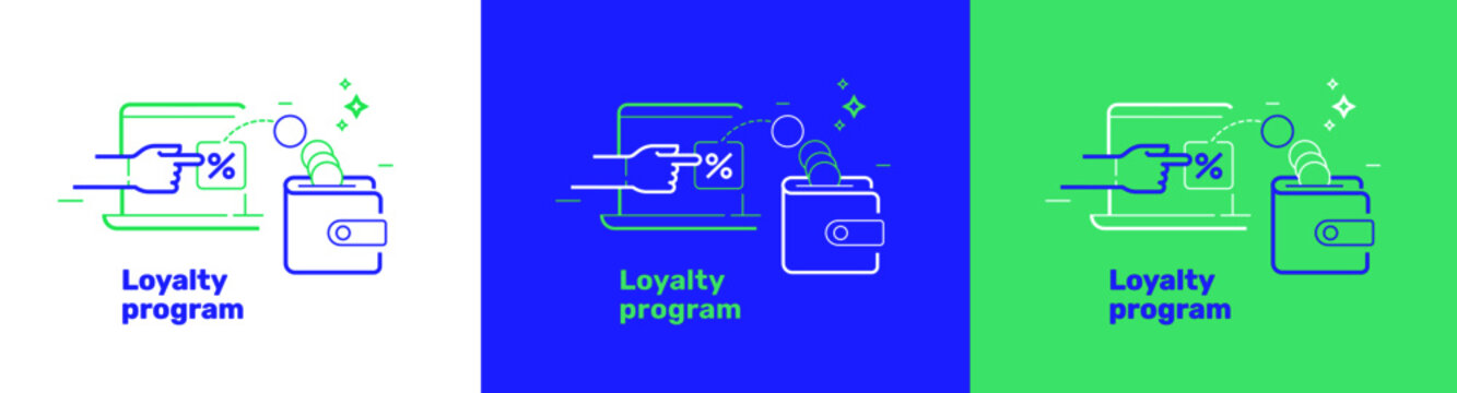 Loyalty program template for web site or banners. Refer bonus for friends or customers. Money reward, cashback benefit icon with hand and coins wallet. Isolated vector illustration on white backdrop